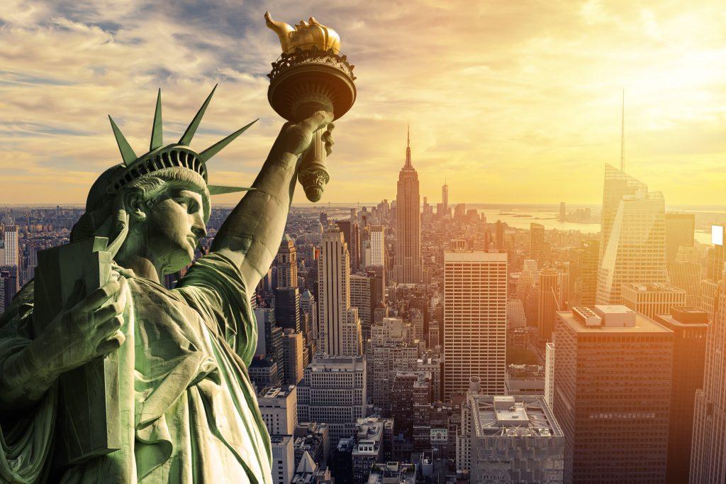 Statue of Liberty overlooking New York City